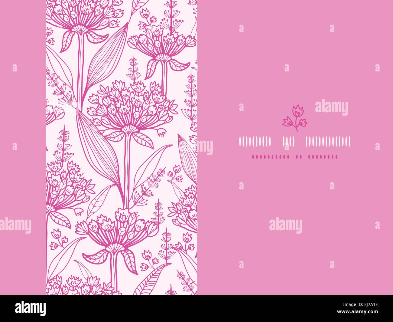 Horizontal Line Art : Pink lillies lineart horizontal seamless pattern background stock