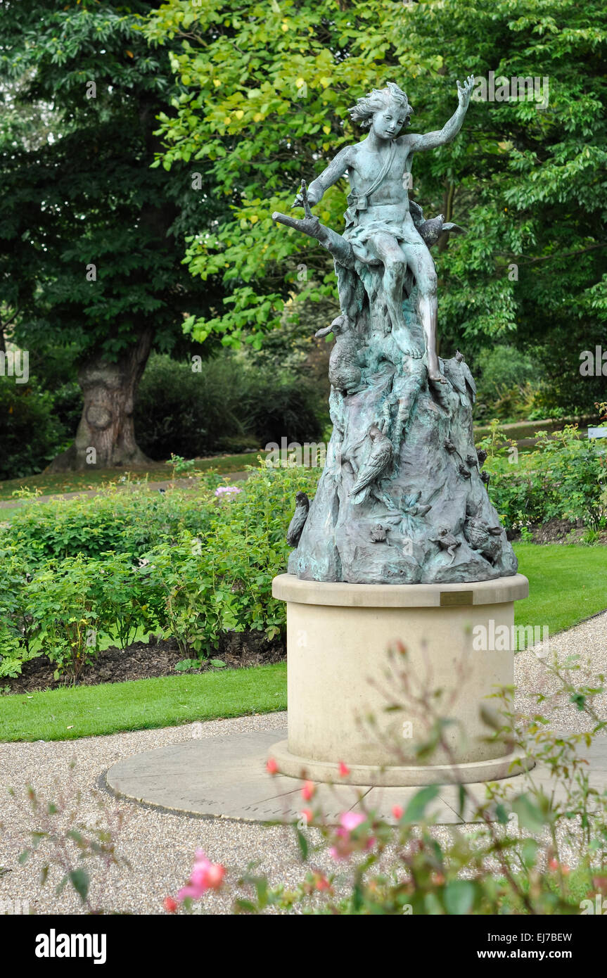 Statue Of Pan, Spirit Of The Woods At Sheffield Botanical Gardens. Bronze  Statue In The Rose Garden