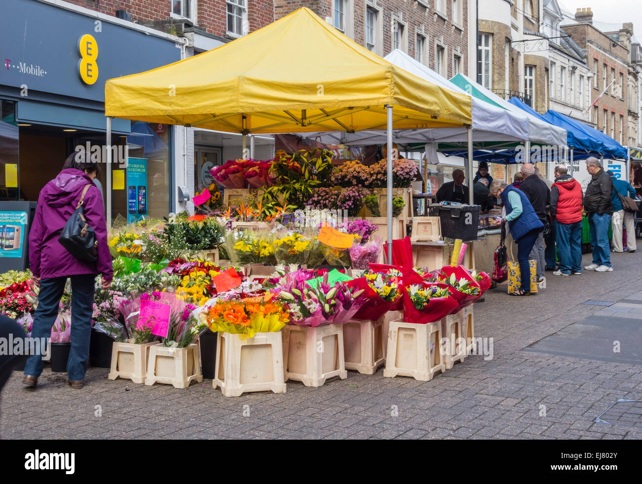 Flower Stall at Outdoor Market in Dorchester, UK Stock ...