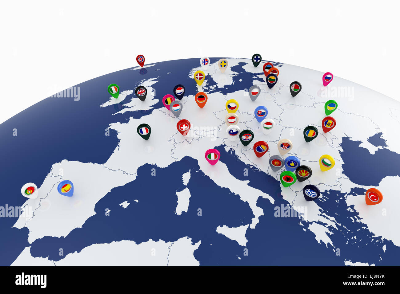 3d render of europe map with countries flags location pins stock 3d render of europe map with countries flags location pins gumiabroncs Images