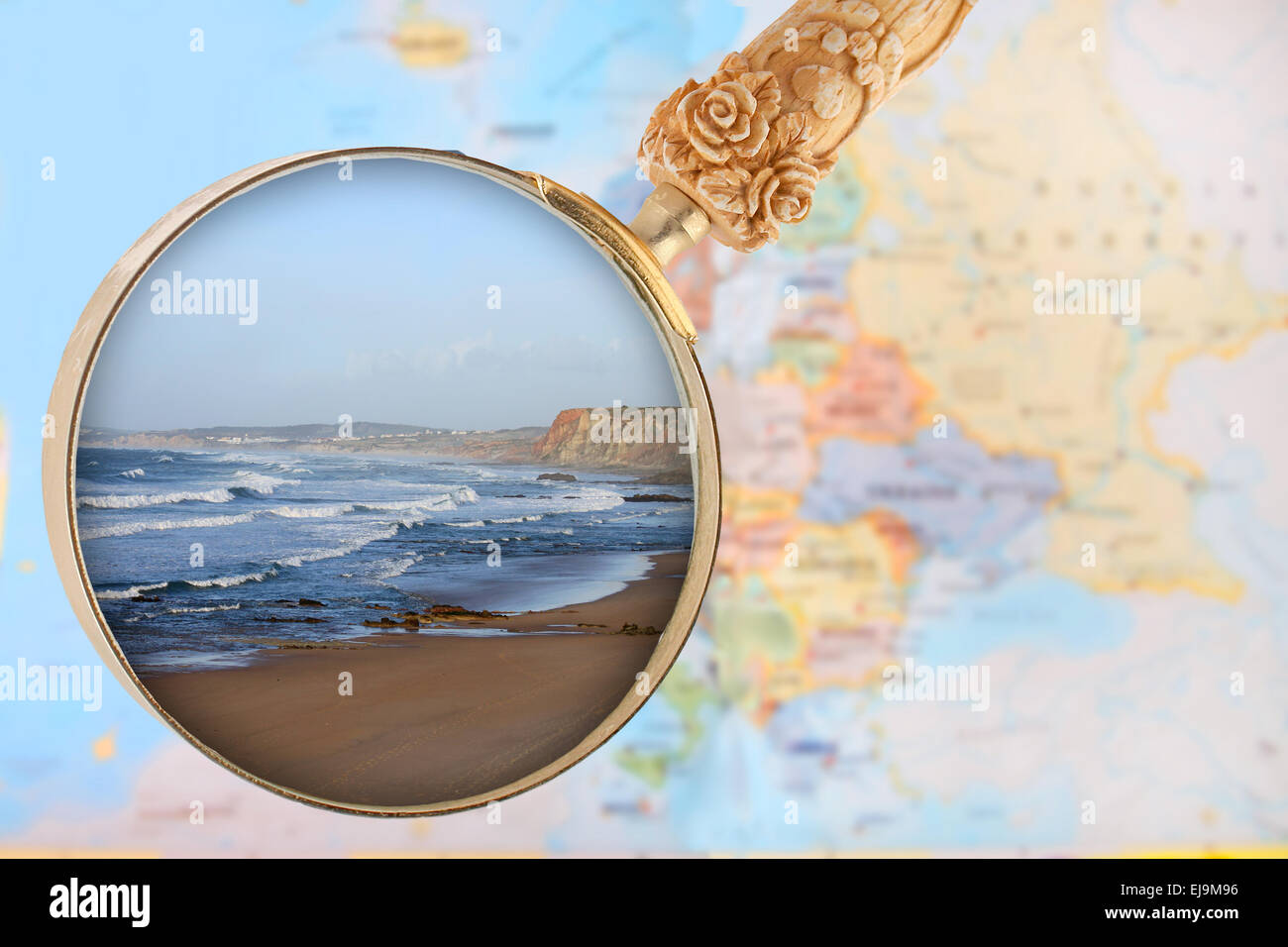 Looking In On Baleal Beach Portugal Popular With Surfers With - Portugal map baleal