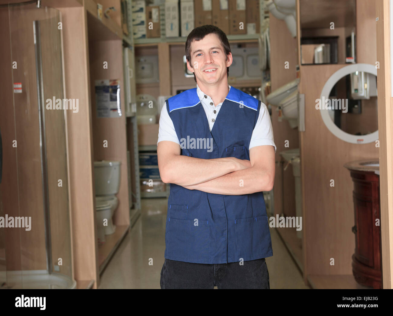 s assistant portrait in home appliance shop supermarket stock stock photo s assistant portrait in home appliance shop supermarket