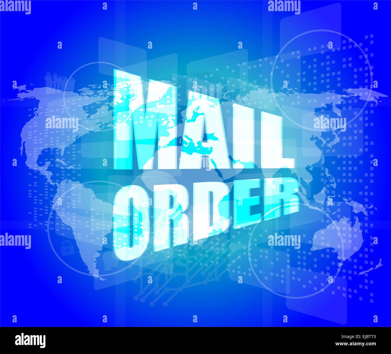 Mail order words on digital screen background with world map stock mail order words on digital screen background with world map gumiabroncs Choice Image