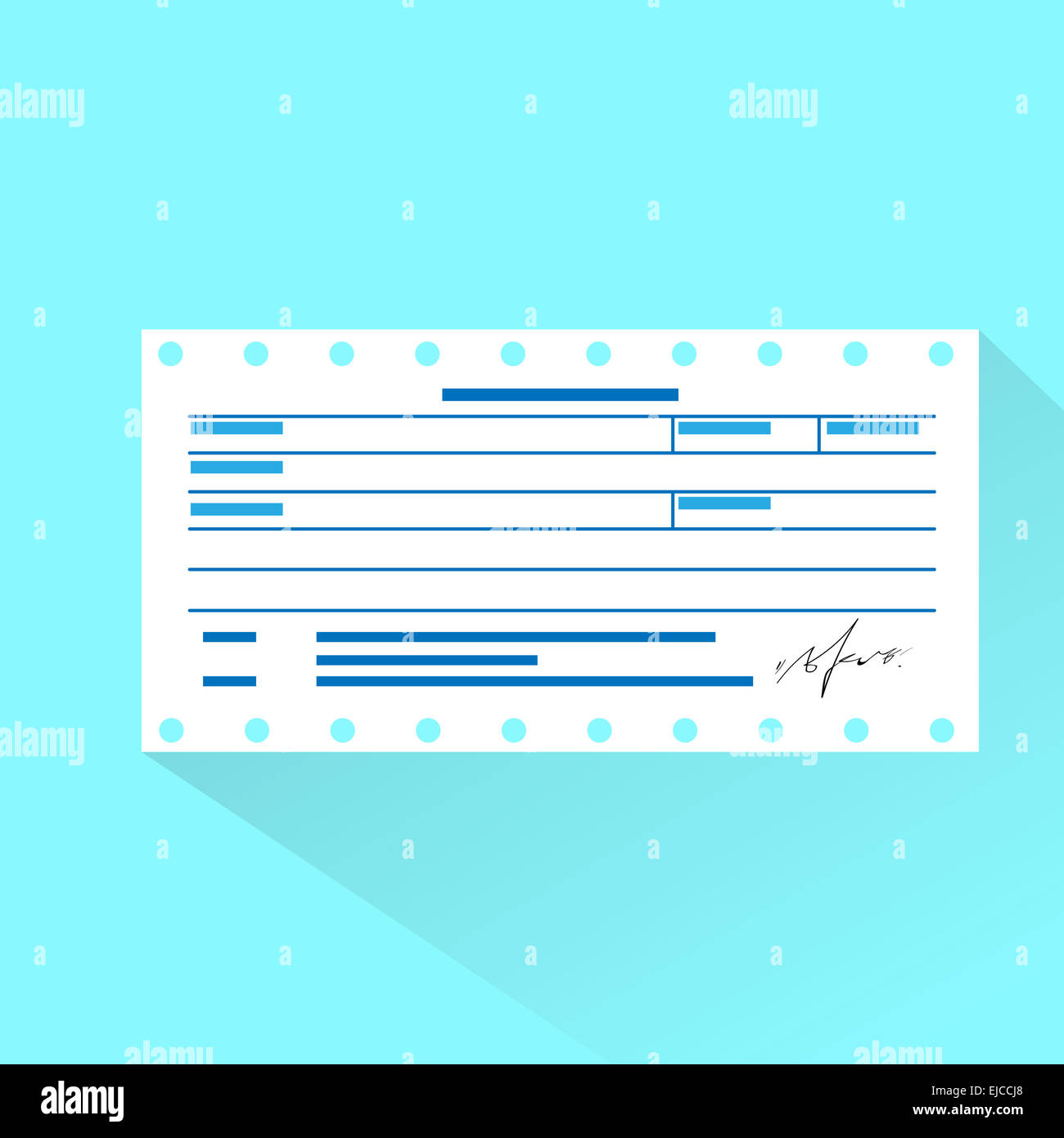 Financial Bill Document, Invoice Order Payment Check Flat Design  Check Invoice