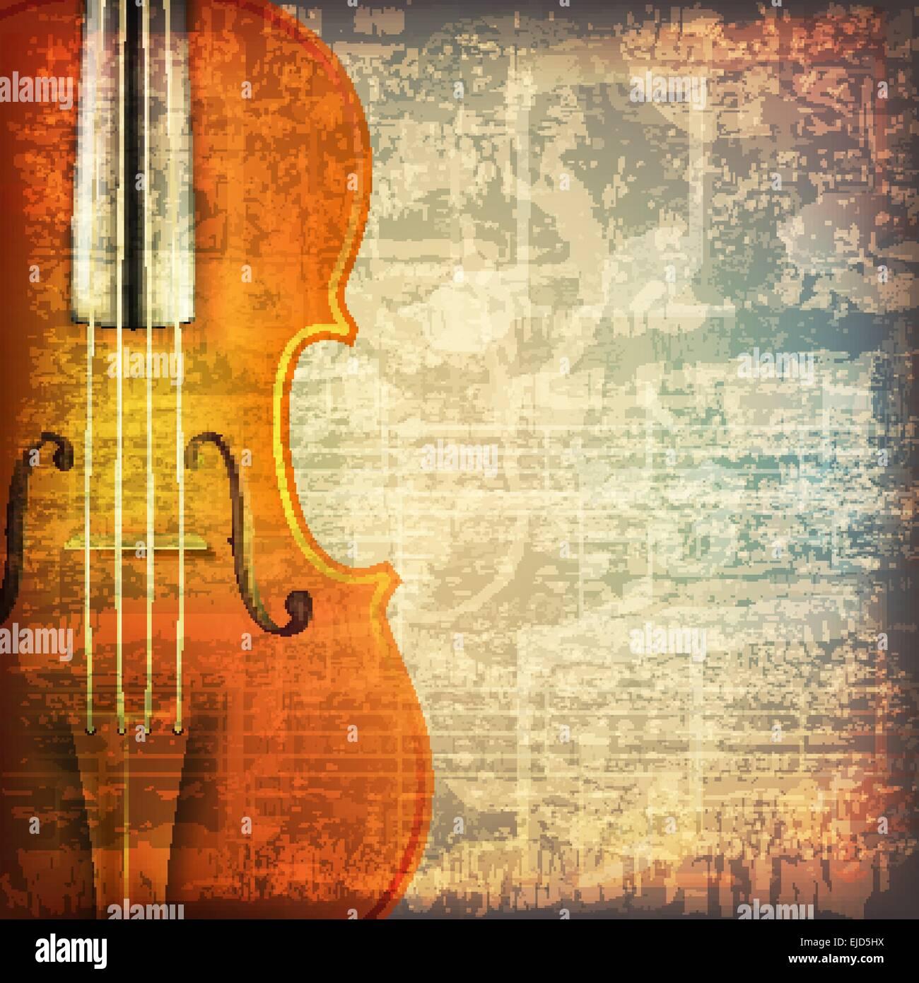 Violin Wallpaper: Abstract Grunge Cracked Music Symbols Vintage Background
