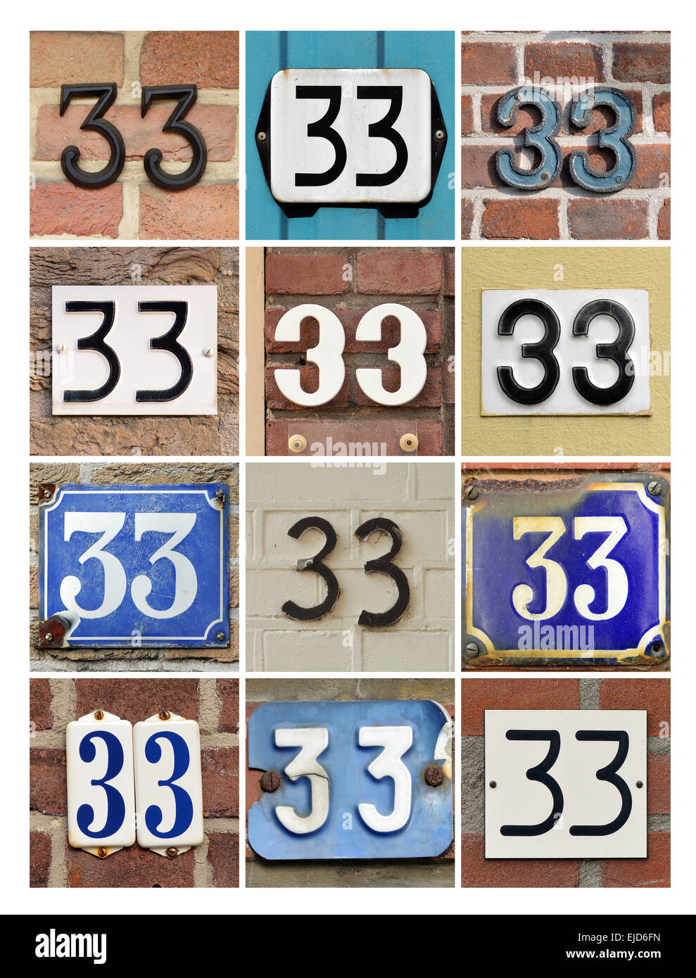 Number 33 free picture of the number thirty three - Numbers 33 Collage Of House Numbers Thirty Three