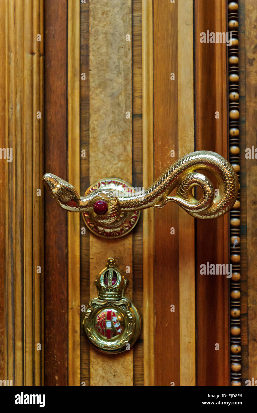 A snake door handle in the Chamber of Deputies in the Austrian Parliament building Vienna Austria & A snake door handle in the Chamber of Deputies in the Austrian ...