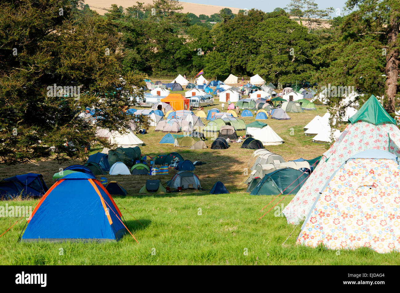 Tents at the c&site at the Port Eliot festival Cornwall UK & Tents at the campsite at the Port Eliot festival Cornwall UK Stock ...