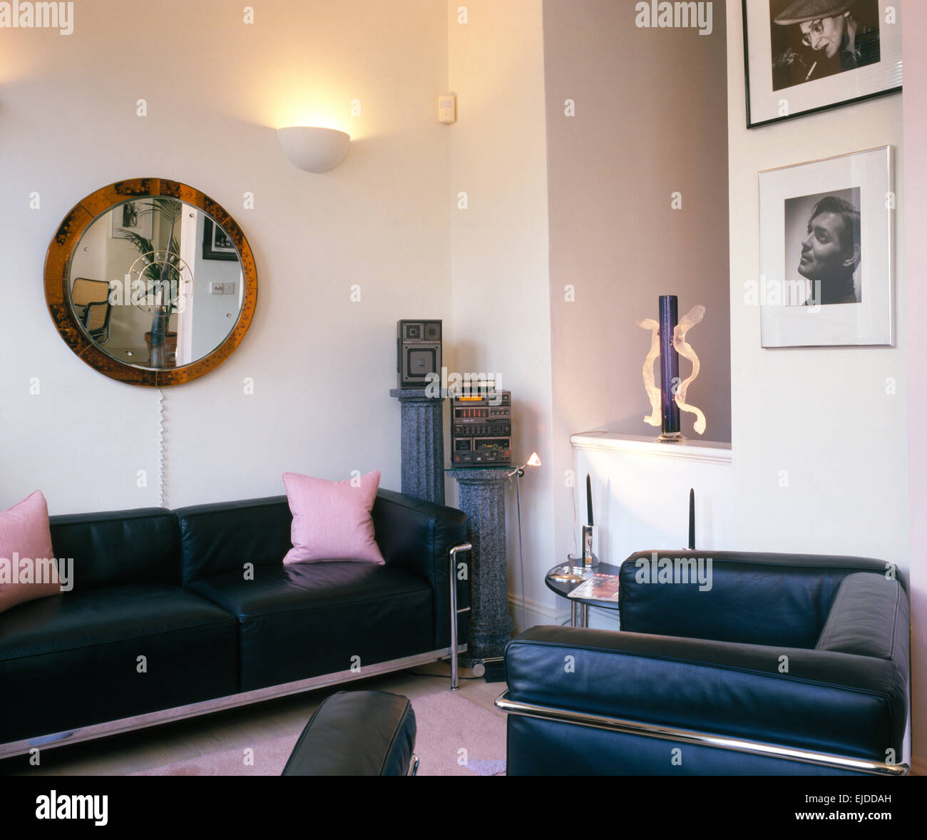 Black Leather Chrome Furniture In Eighties Living Room Stock Photo Royalty Free Image 80201145