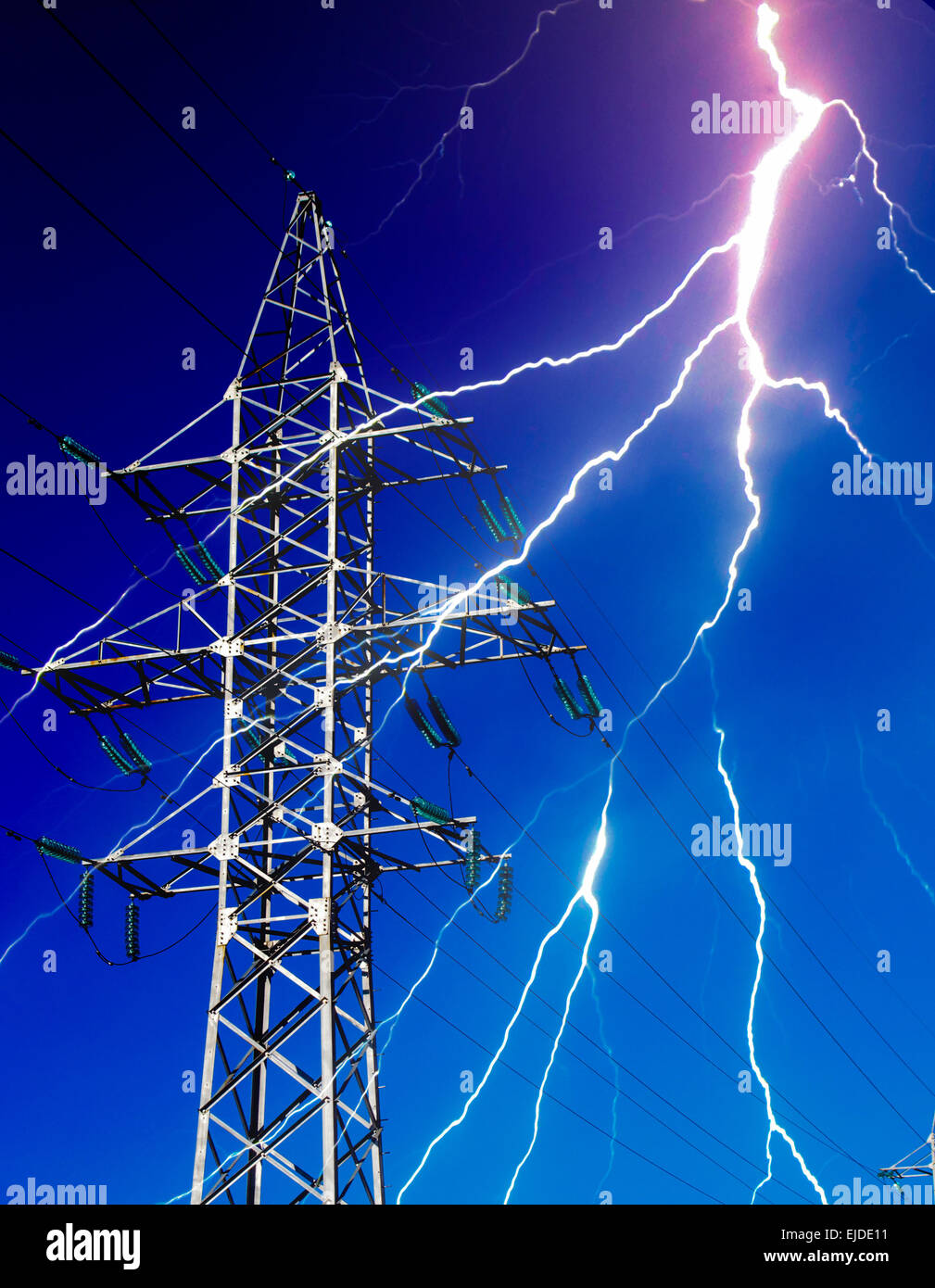 An electricity pylon and a flash of lightning Stock Photo, Royalty ... for Electricity Lightning Bolt  599kxo