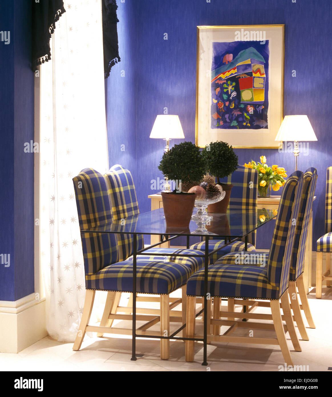 Plaid Upholstered Chairs At Glass Topped Table In Cobalt Blue Nineties  Dining Room