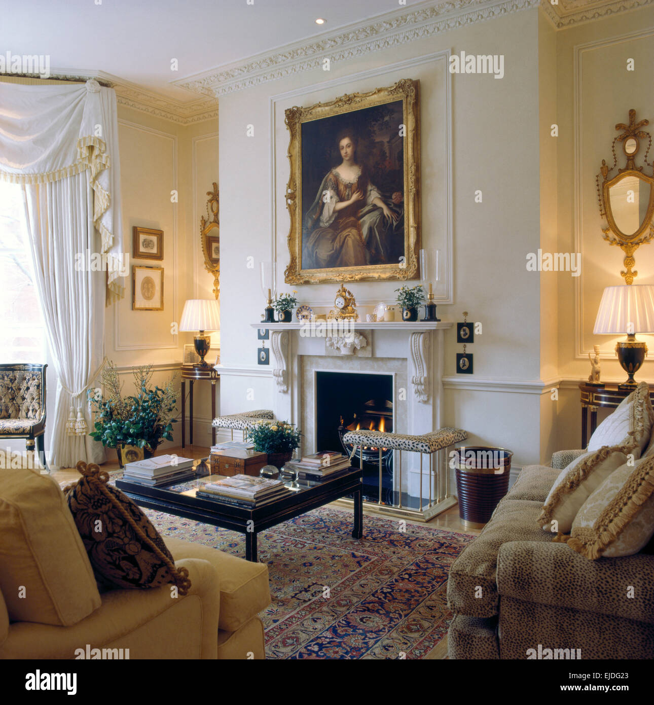large oil portrait above fireplace in elegant nineties drawing