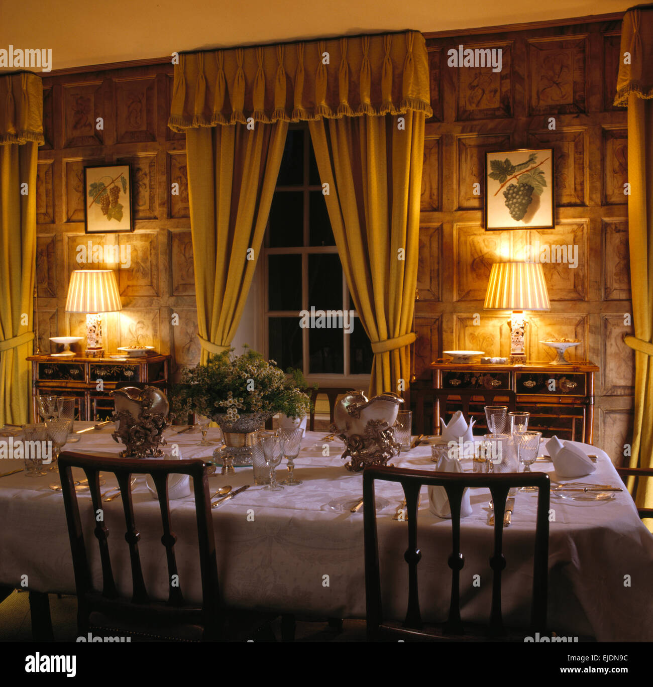 Country Dining Room Curtains: Yellow Curtains On Window In Paneled Country Dining Room