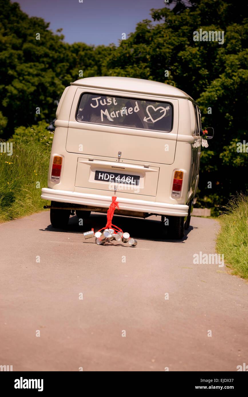 Volkswagen Camper Bus With Just Married In The Window