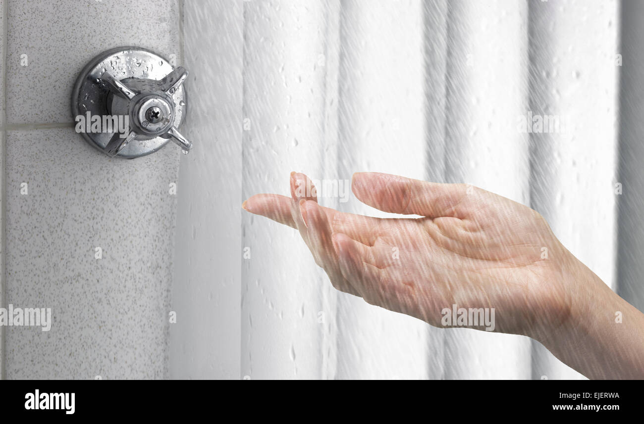 Hand Checking Water Temperature In Shower Stock Photo, Royalty ...