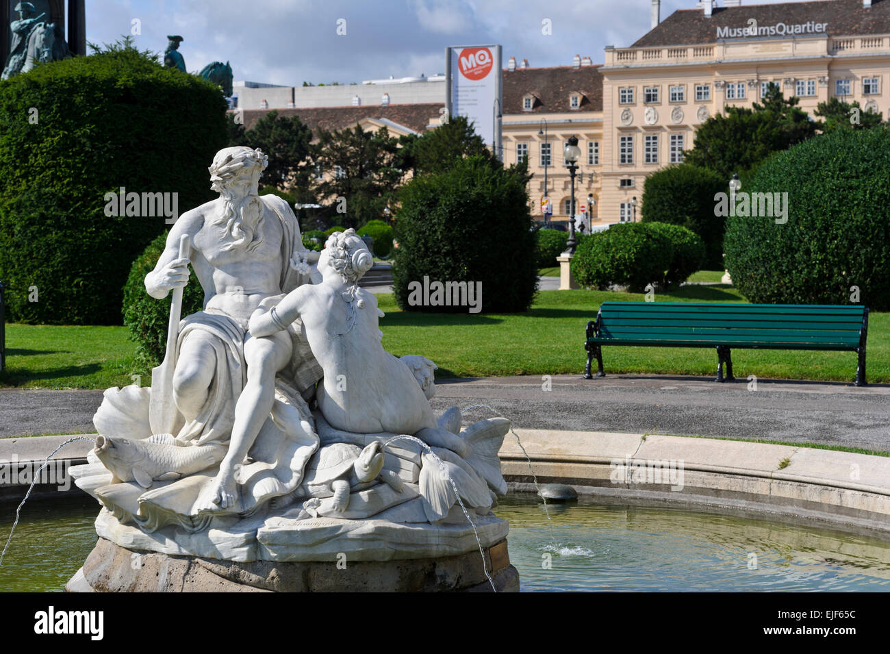 Water fountains with statues - Marble Statues At A Water Fountain Outside The Natural History Museum In Maria Theresa Platz Vienna Austria
