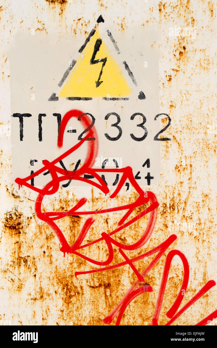 Painted electric shock symbol and urban street graffiti and rust painted electric shock symbol and urban street graffiti and rust biocorpaavc Image collections
