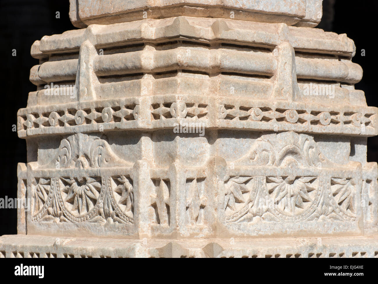 Ornate stone carvings at ranakpur jain temple rajasthan