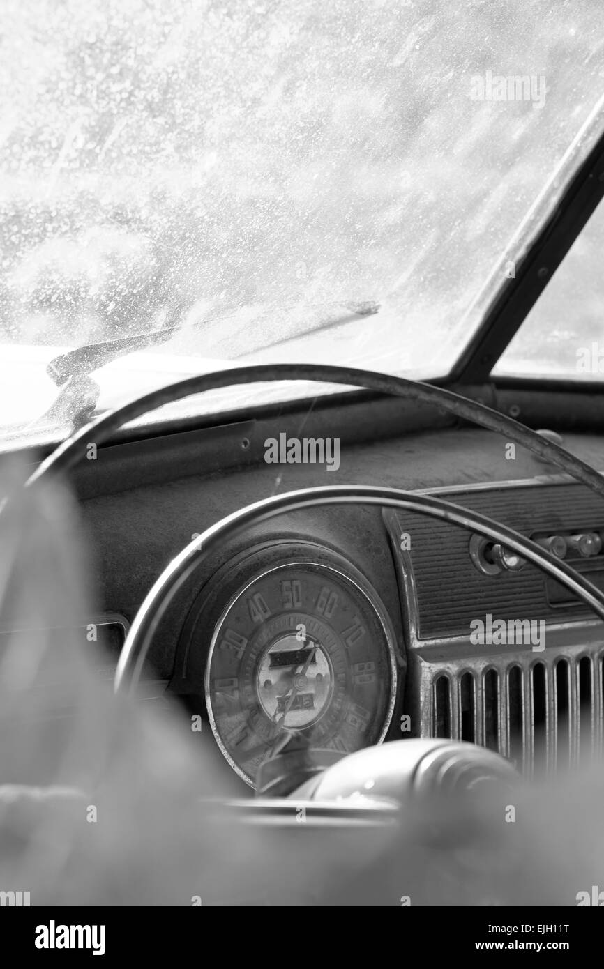 fragment like view of old rusty car interior black and white stock photo royalty free image. Black Bedroom Furniture Sets. Home Design Ideas
