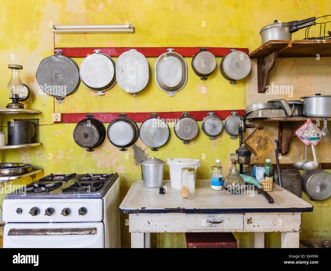 Hanging Pots And Pans On Wall pots and pans hanging stock photos & pots and pans hanging stock