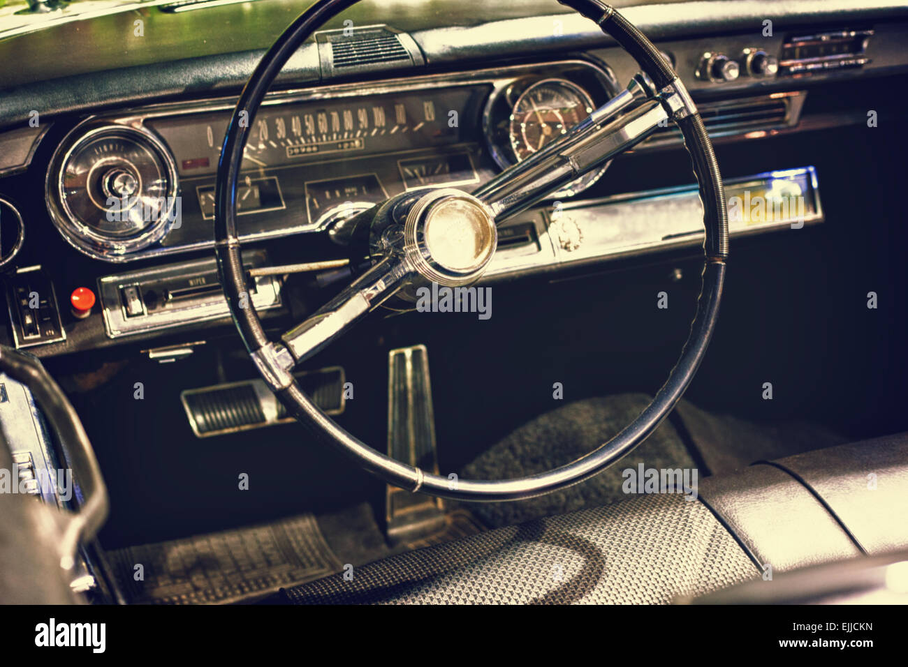 Old Vintage Classic Black Car Steering Wheel And Dashboard Stock