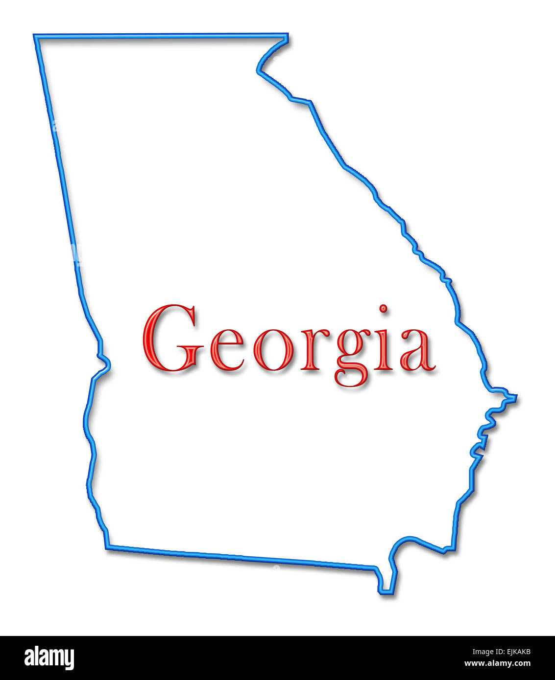 Georgia Map With Neon Blue Outline And Red Lettering Stock Photo - Georgia map outline