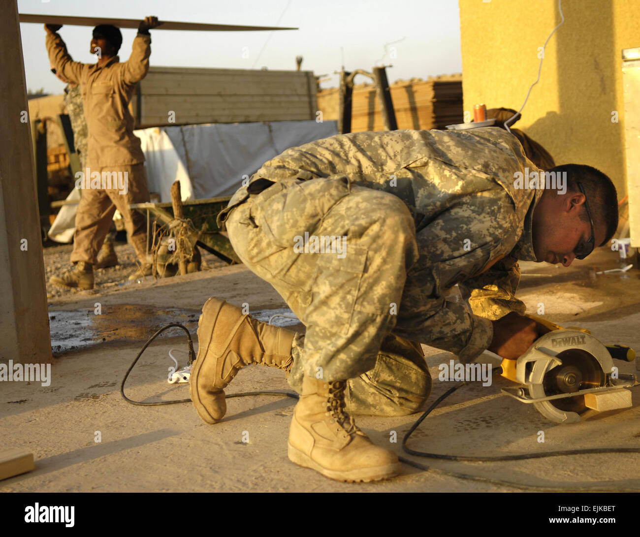 U.S. Army Staff Sgt. William Parker and Pfc. Rondy Rechirei Stock ...