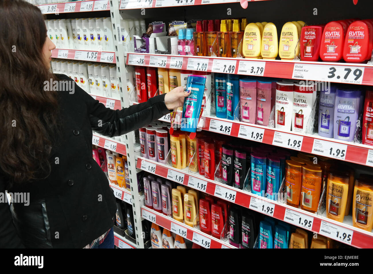 Aisle With A Variety Of Hair Care Products In A Kaufland