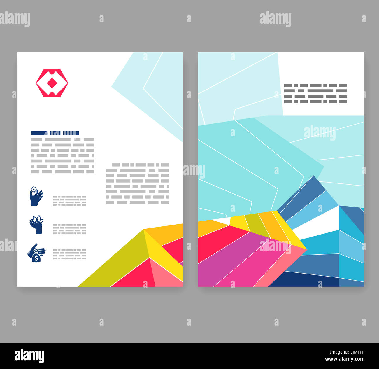 two fold brochure template - flyer leaflet booklet layout editable design template