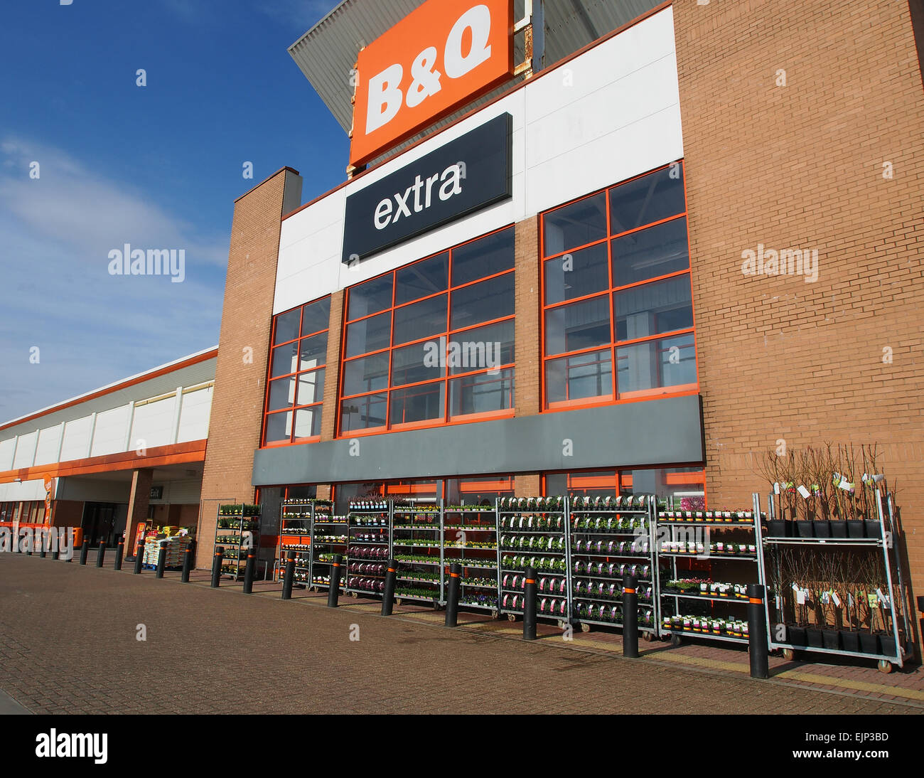 B & Q Store in Bolton, Lancashire, England, with plants on display outside
