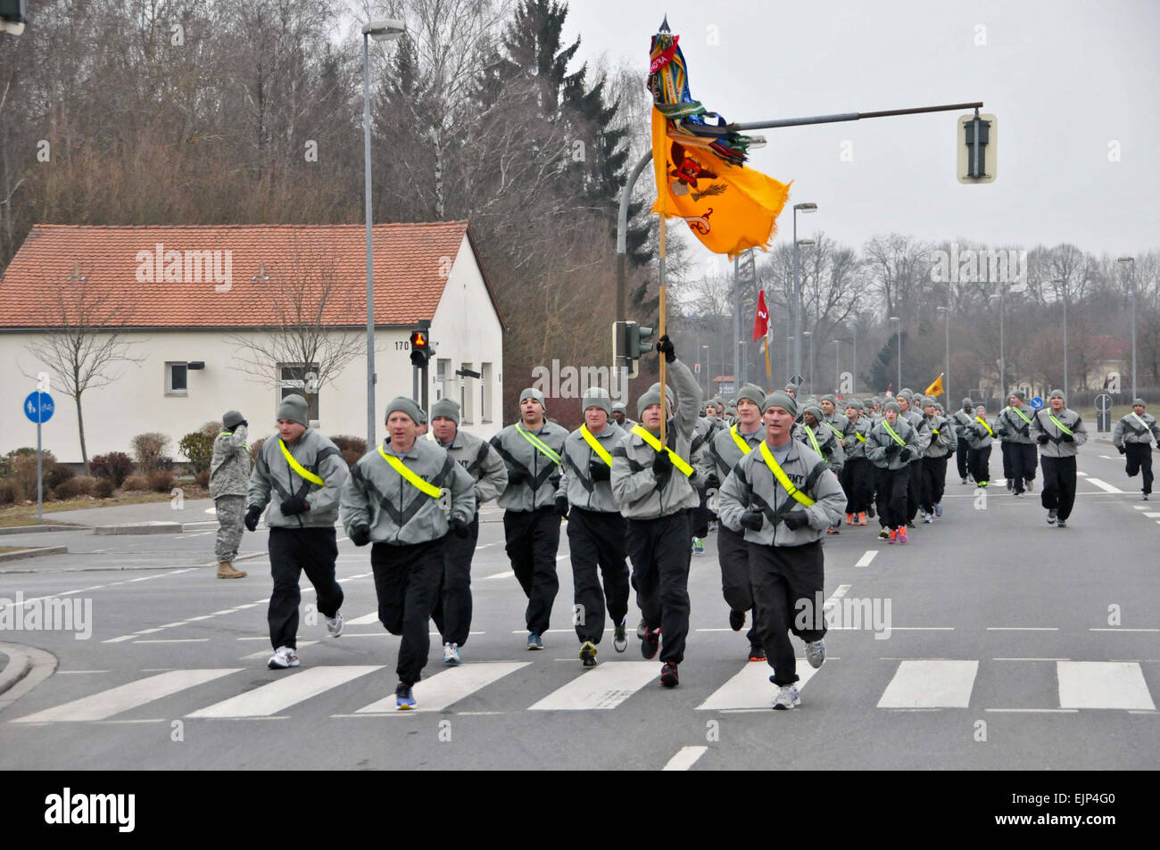 U.S. Army Leaders with 2nd Cavalry Regiment run in the front of a ...