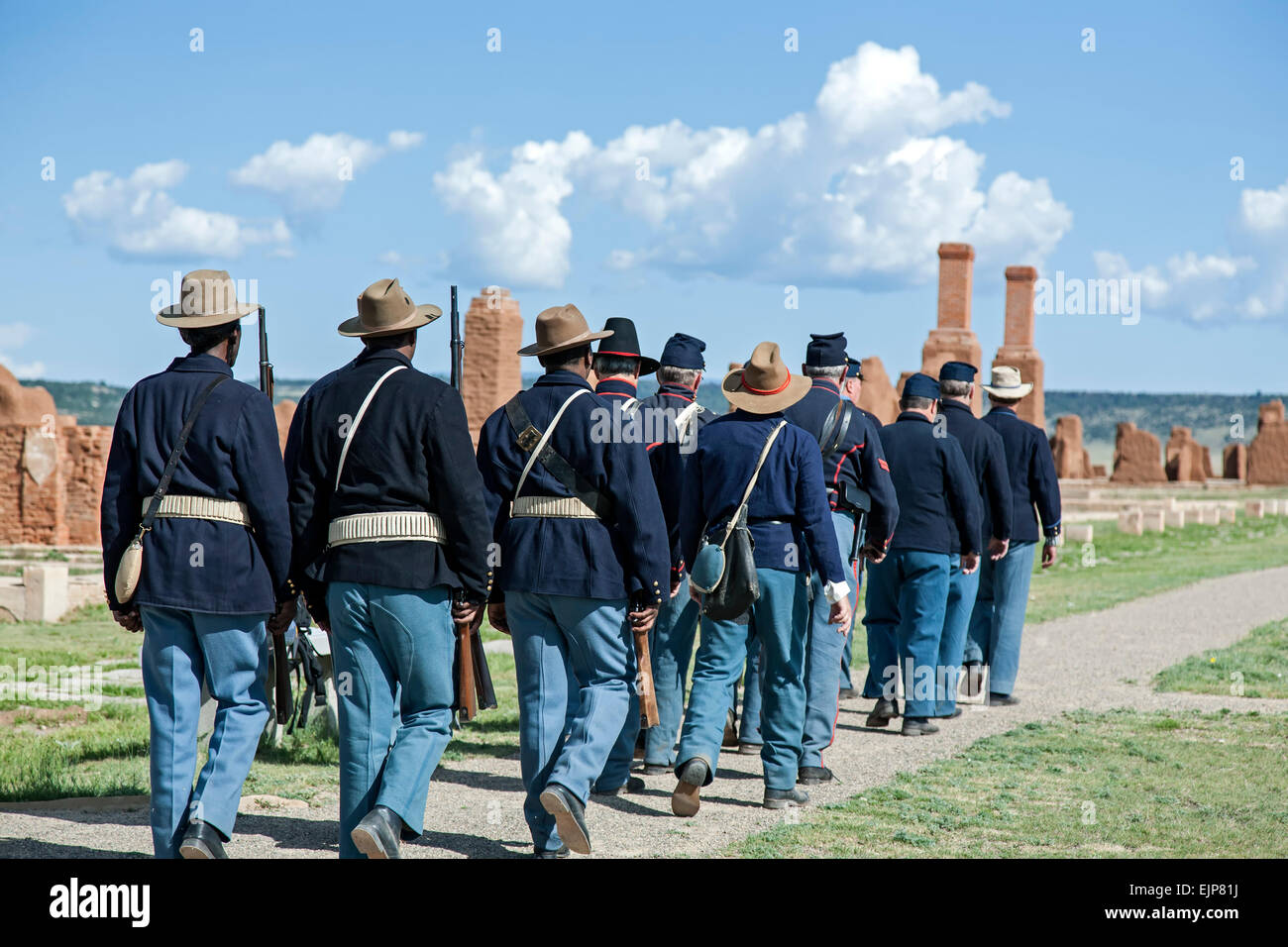 Civil war era union soldier reenactors marching in formation fort union national monument new