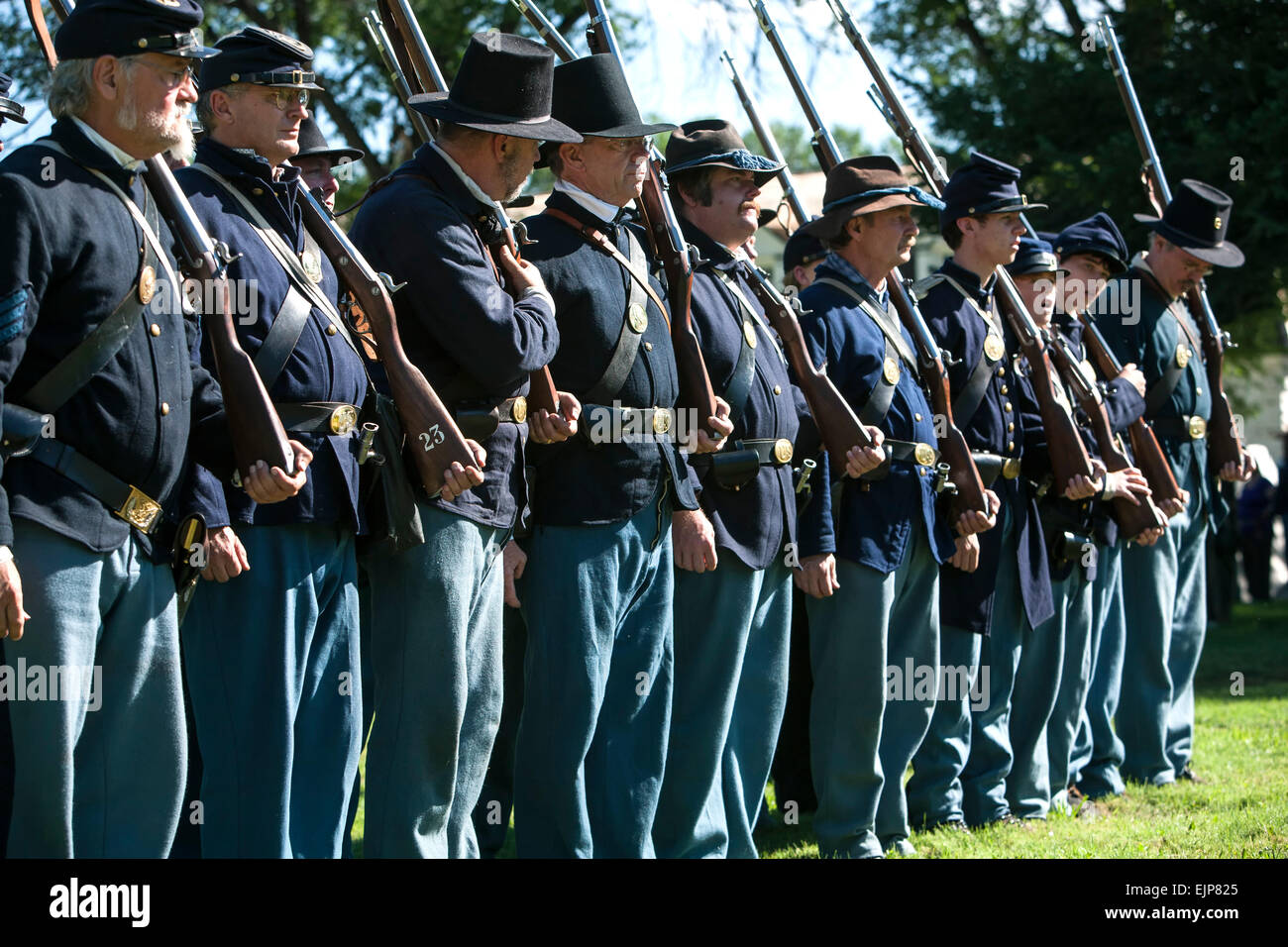 Civil war era union soldier reenactors at attention fort stanton live fort stanton new mexico usa
