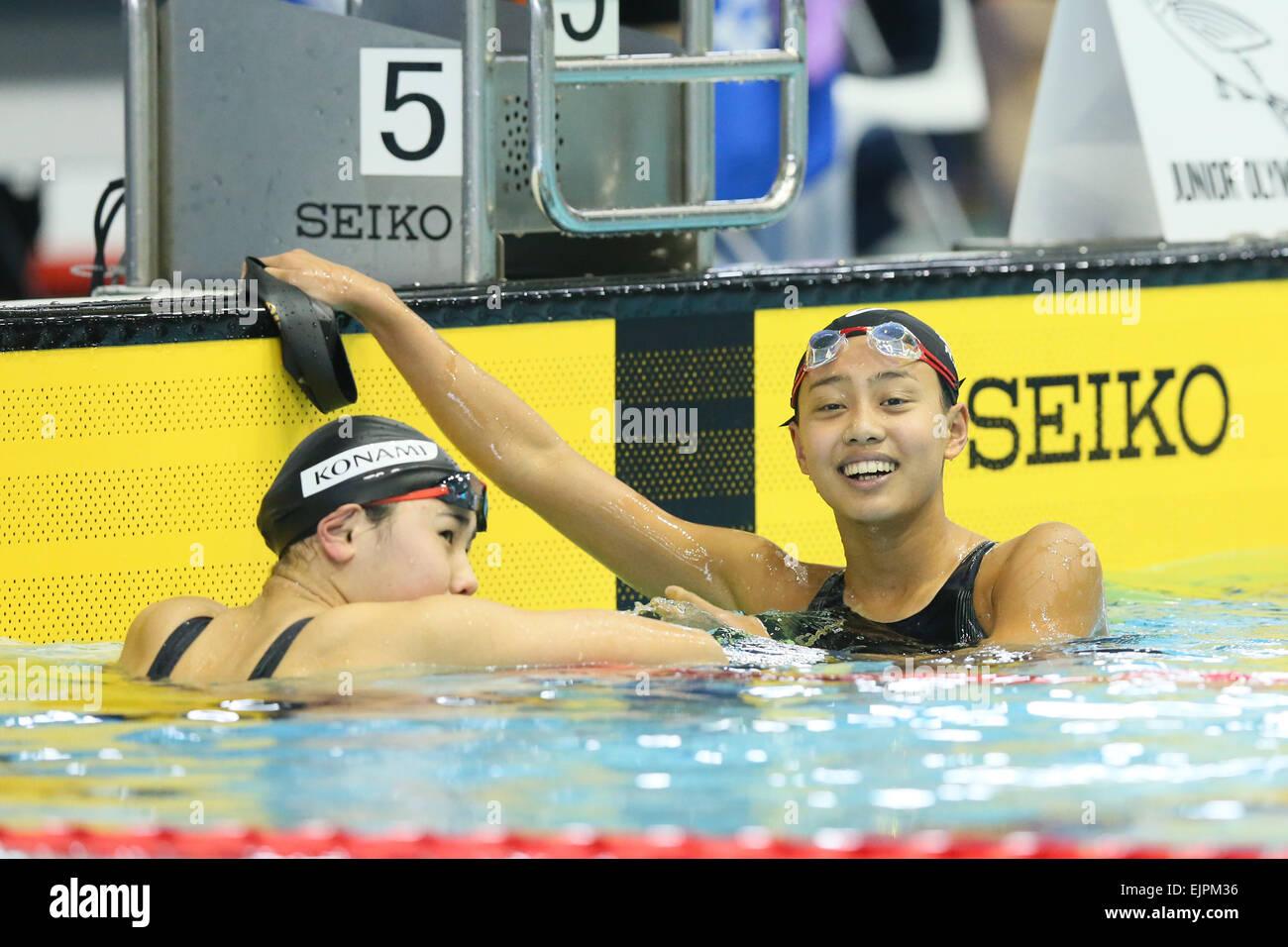 Tatsumi International Swimming Pool, Tokyo, Japan. 30th Mar, 2015. (L To R)  Yukino Miyasaka, Runa Imai, MARCH 30, 2015   Swimming : The 37th JOC Junior  ...