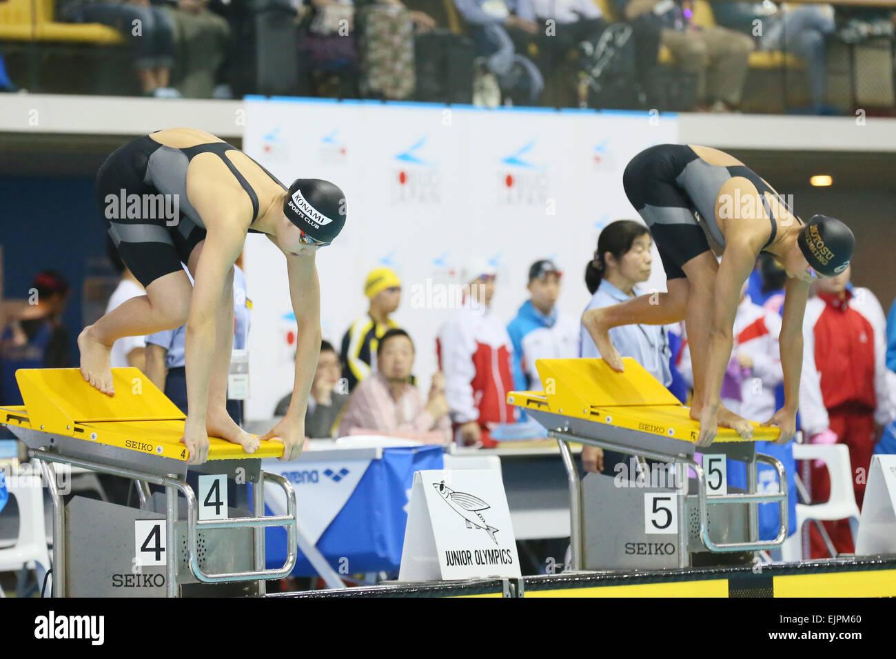 tatsumi international swimming pool tokyo japan 30th mar 2015 l to r yukino miyasaka runa imai march 30 2015 swimming the 37th joc junior