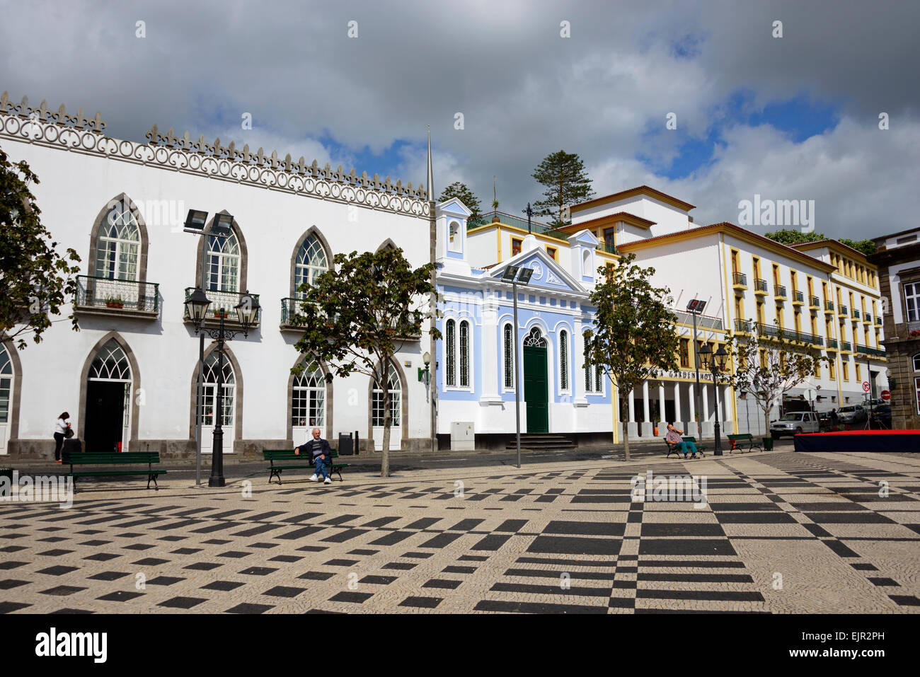 Houses On The Praca Velha Angra Do Heroismo Terceira Azores Stock Photo Royalty Free Image