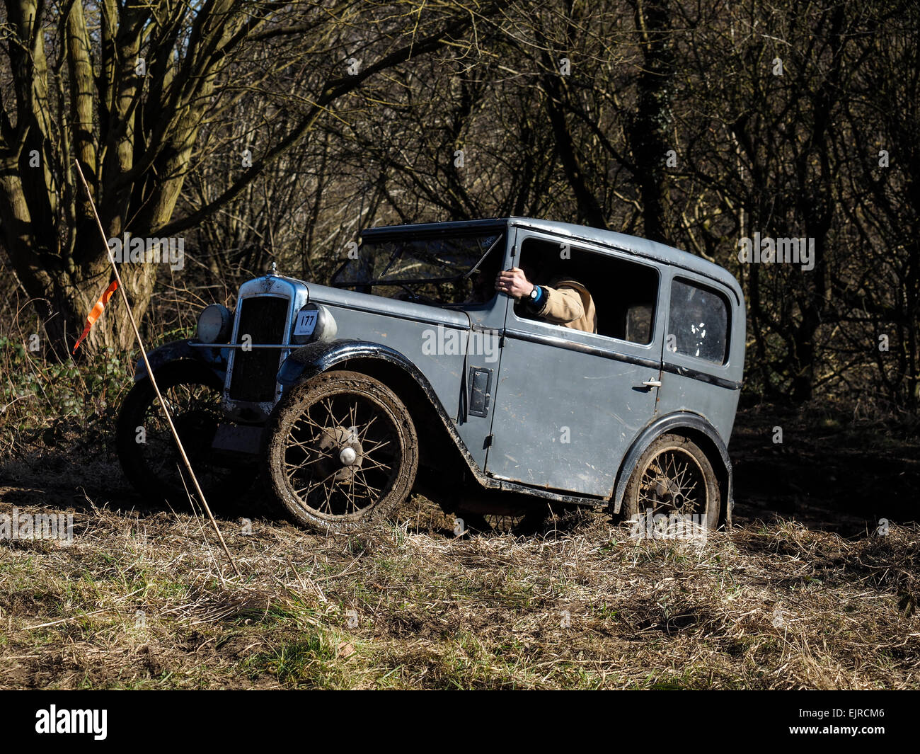 Old vintage cars competing in hill climb trials off road in Stock ...