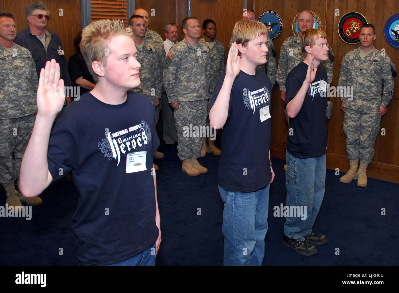 In October 2009, triplets John Paul, Jacob Erik and Joshua Clint Temple took the oath of enlistment at the Little Rock, Arkansas, Military Entrance Processing Station. That year the U.S. Army and other military services' active and reserve components reported record recruiting numbers. (Photo: Chris A. Durney, courtesy of Wikimedia Commons.)