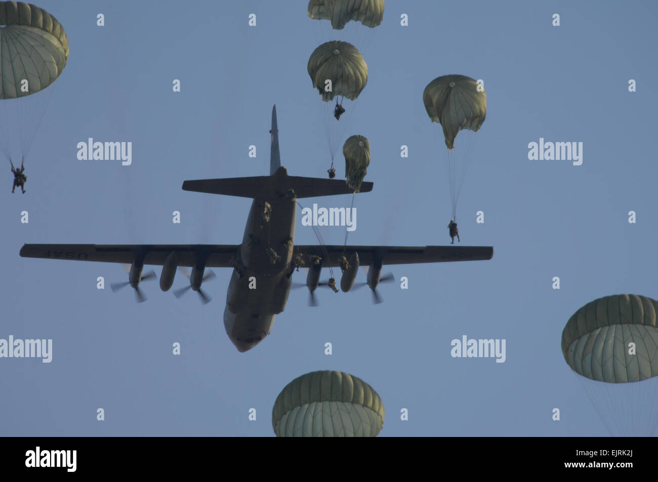 Parachute Infantry Regiment, 82nd Airborne Division Parachute Out Of A  Us Air Force C130 Hercules Aircraft At Night During A Joint Forcible  Entry