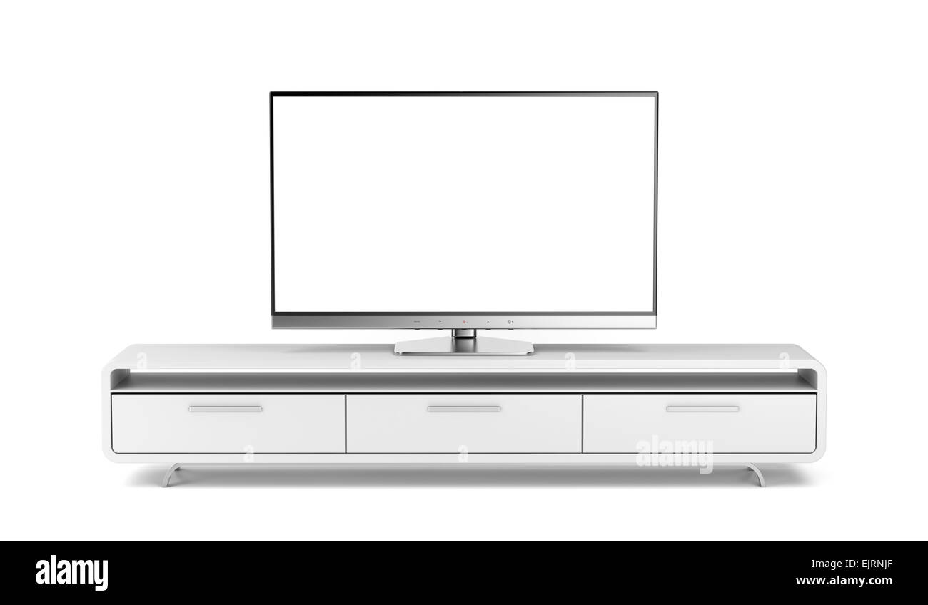 flat screen tv on modern tv stand stock photo royalty free image  - flat screen tv on modern tv stand