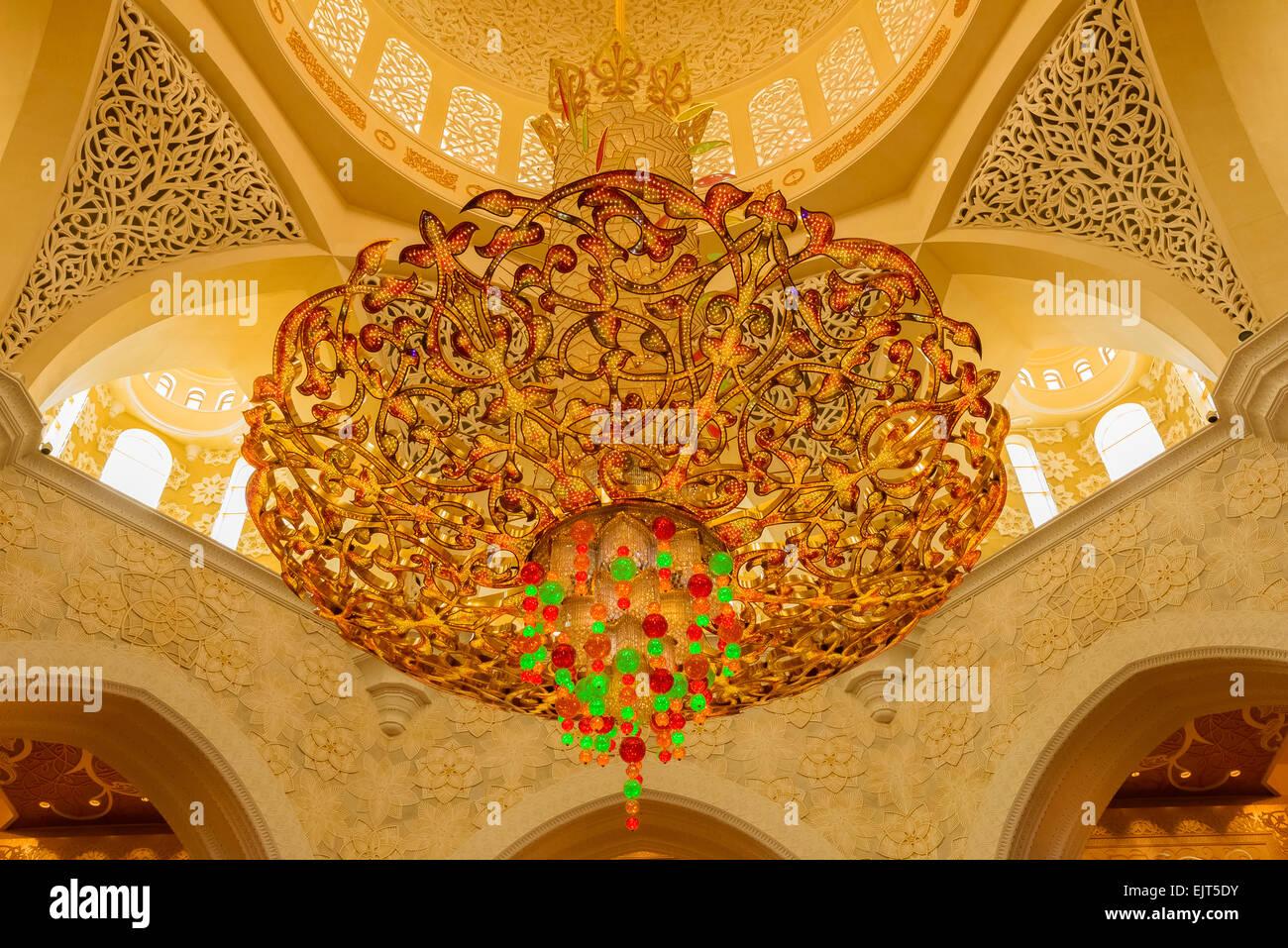 Chandelier in Sheikh Zayad Grand Mosque in Abu Dhabi, UAE Stock ...