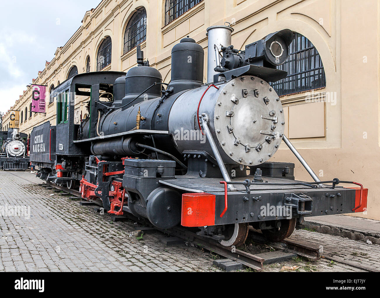 Old American steam trains on display at the harbour in Old ...