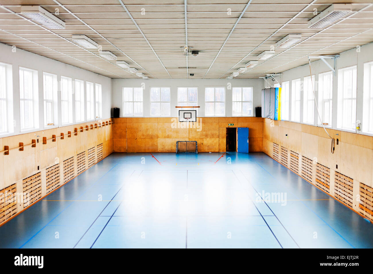 Empty indoor basketball court Stock Photo, Royalty Free Image ...