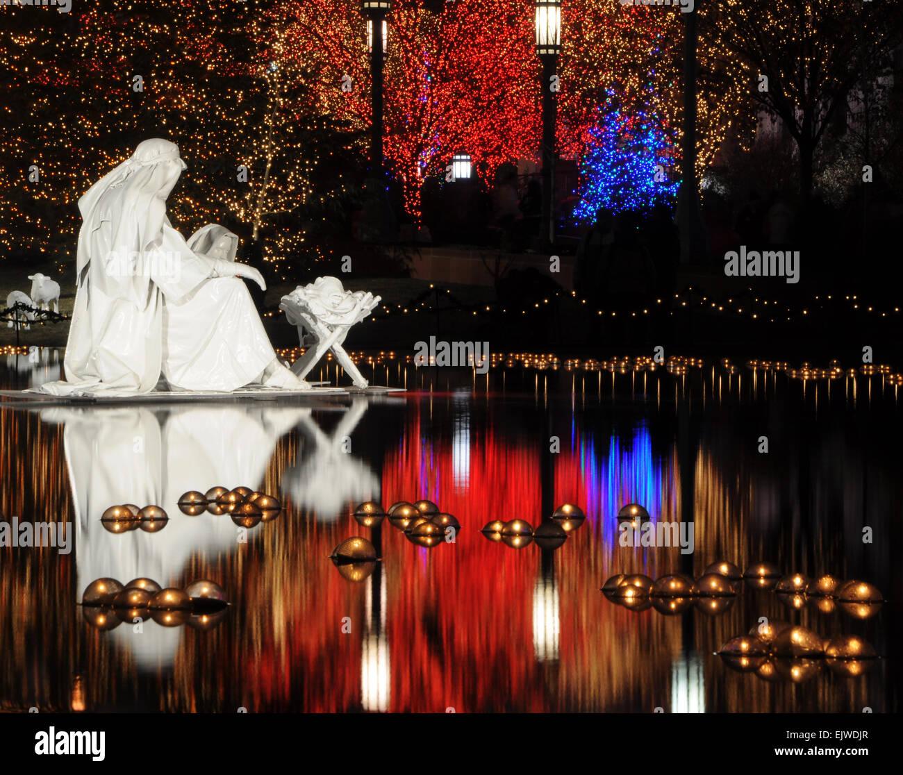Christmas At The Lake: Water Christmas Nativity Scene At Night