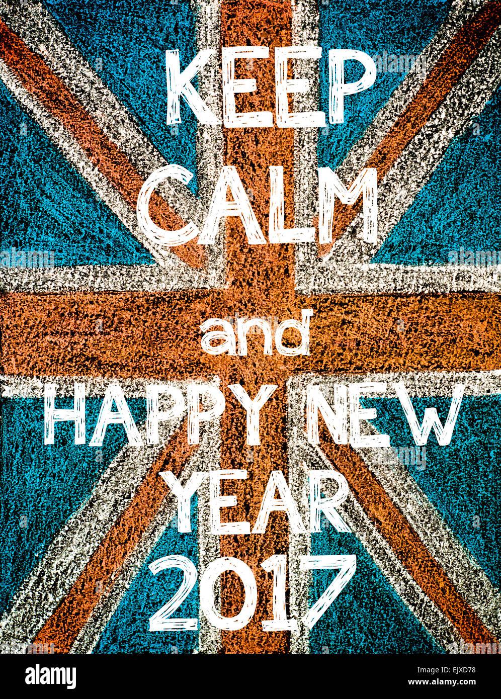 Keep Calm And Happy New Year 2017. United Kingdom (british
