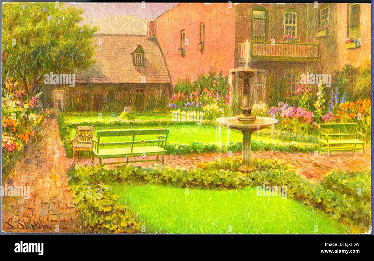 Old stone house and 39 enchanted garden 39 no title stock photo royalty free image 80489553 alamy - Enchanted garden collection free download ...