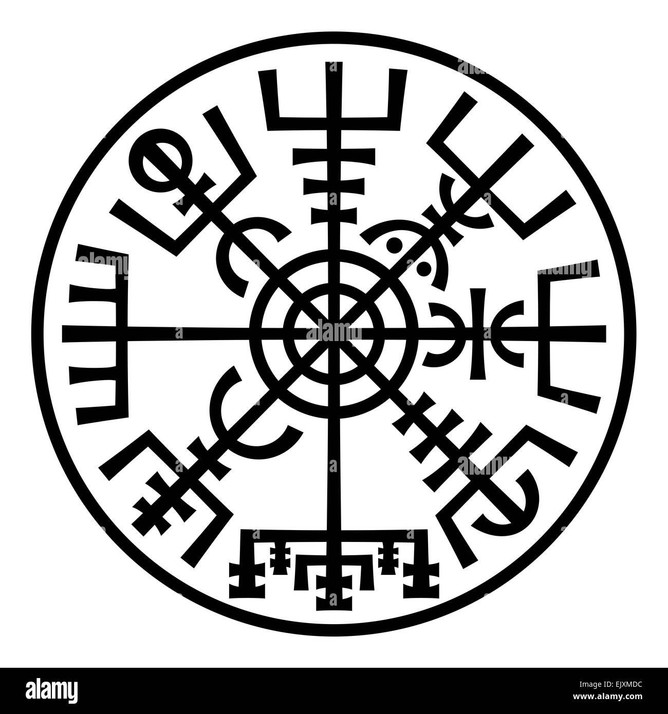Vegvisir the magic navigation compass of vikings runes from stock the magic navigation compass of vikings runes from medieval icelandic manuscript book talisman for good voyage buycottarizona Choice Image