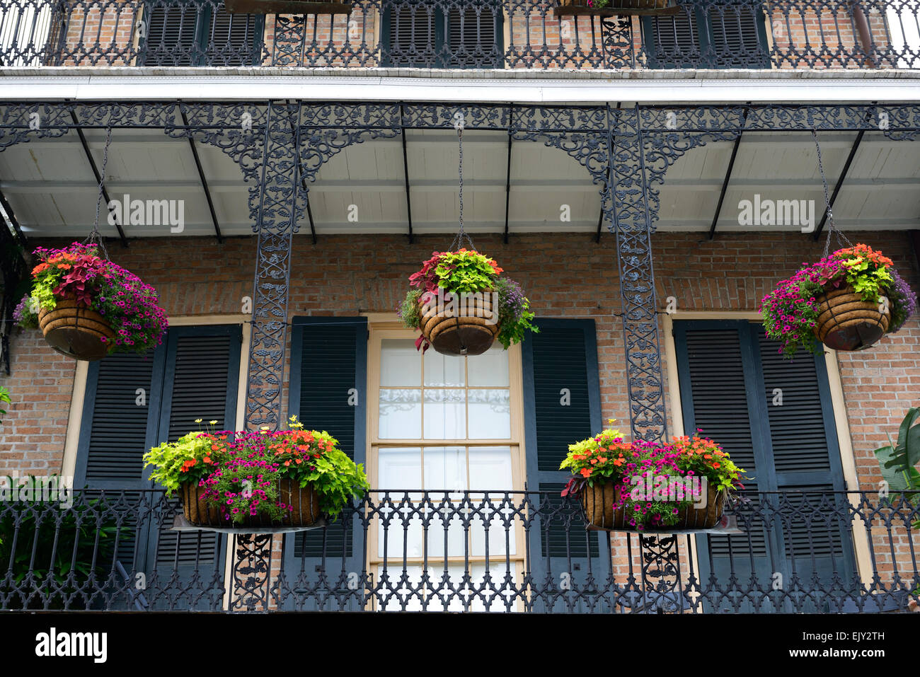 Hanging Baskets Planters Balcony Balconies Decorate French Quarter Stock Photo Royalty Free