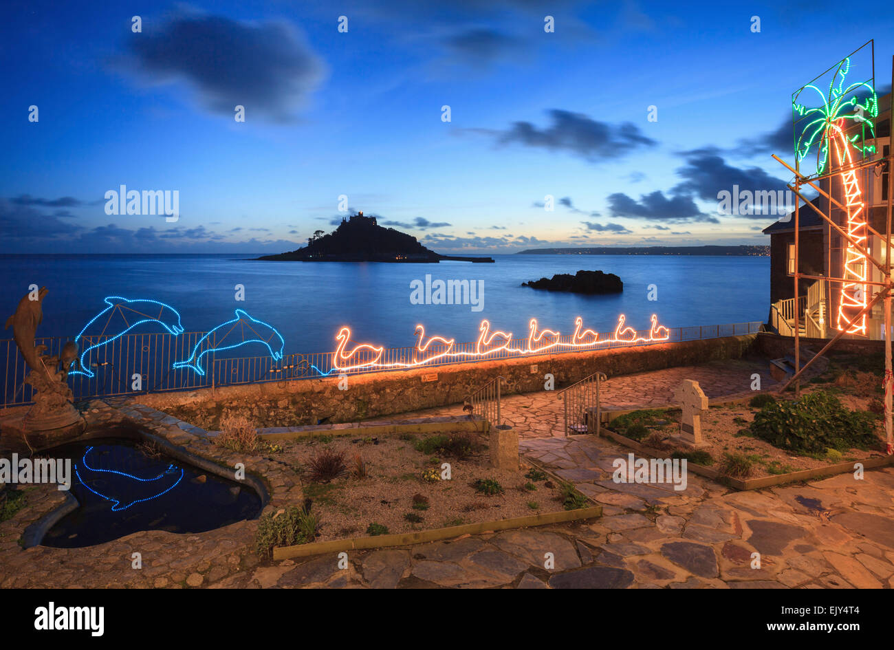 Marazion Christmas Lights With St Michael's Mount In The Distance  - Michaels Christmas Lights