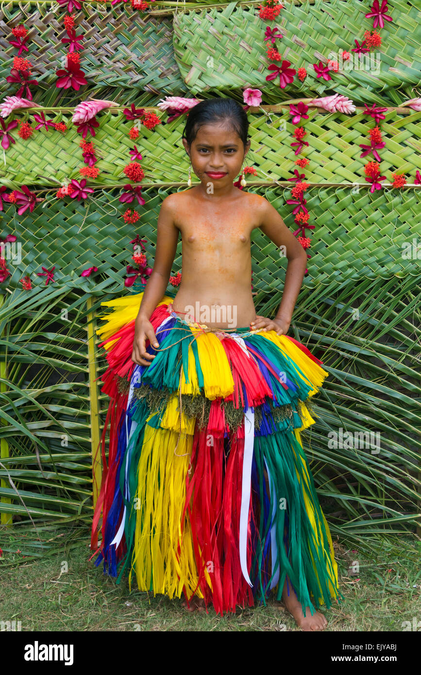 yapese girl in traditional clothing at yap day festival